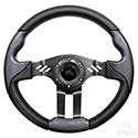 "Steering Wheel, Aviator 5 Carbon Fiber Grip/Black Spokes 13"" Diameter"