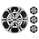 "Wheel Cover, SET OF 4, 8"" Daytona Chrome with Black"