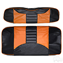 RHOX Front Seat Cover Set, Rally Black/Orange, E-Z-Go RXV 08+, TXT 96-13