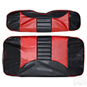 RHOX Front Seat Cover Set, Rally Black/Red, E-Z-Go RXV 08+, TXT 96-13