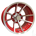 8 Spoke, Machined w/ Red w/ Center Cap, 14x7 ET-38