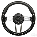 "Steering Wheel, Aviator 4 Black Grip/Brushed Aluminum Spokes 13"" Diameter"