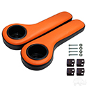 Universal Arm Rest Set with Cup Holders, Black and Orange