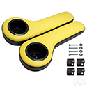 Universal Arm Rest Set with Cup Holders, Black and Yellow